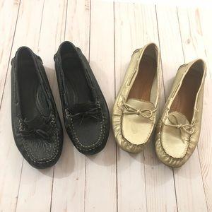Nine west (8M) bundle 2 loafers shoes black gold